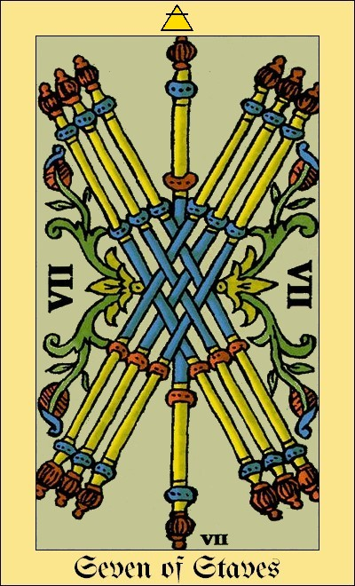 The Seven of Staves (Sceptres) by Claude Bardel, 1751