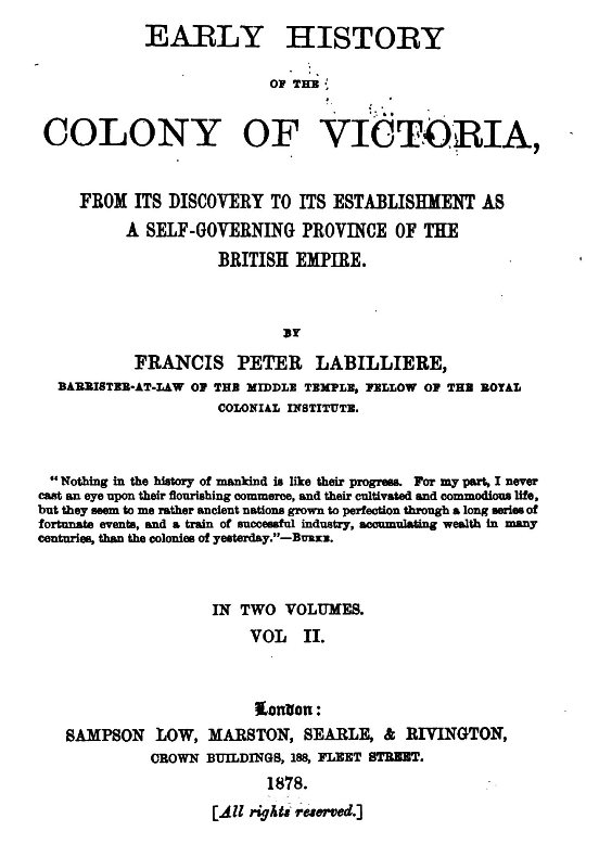 Early history of the colony of victoria volume ii numbers 2 5 and 8 with two and 3 6 and 9 with three asterisks each note is here placed at the ends of the paragraph in which it occurs fandeluxe Images