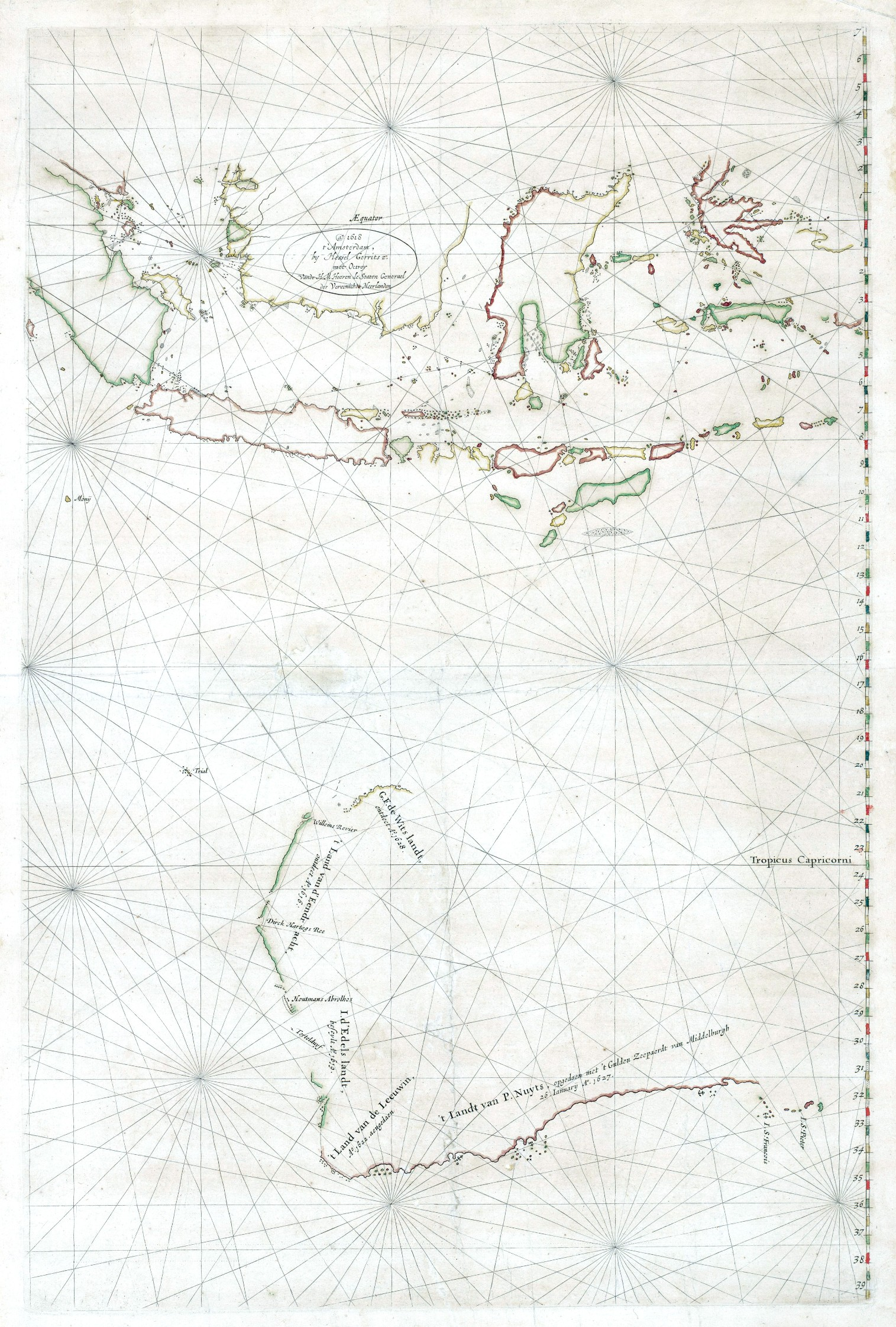 First Map Of Australia.Exploration Maps And Charts Discovery Of Australia By Sea