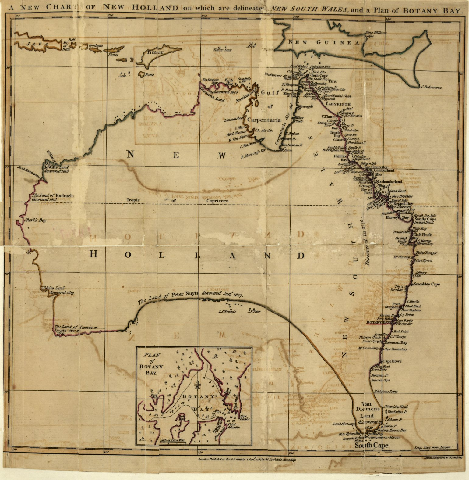 cooks map of the east coast of new south wales 1770