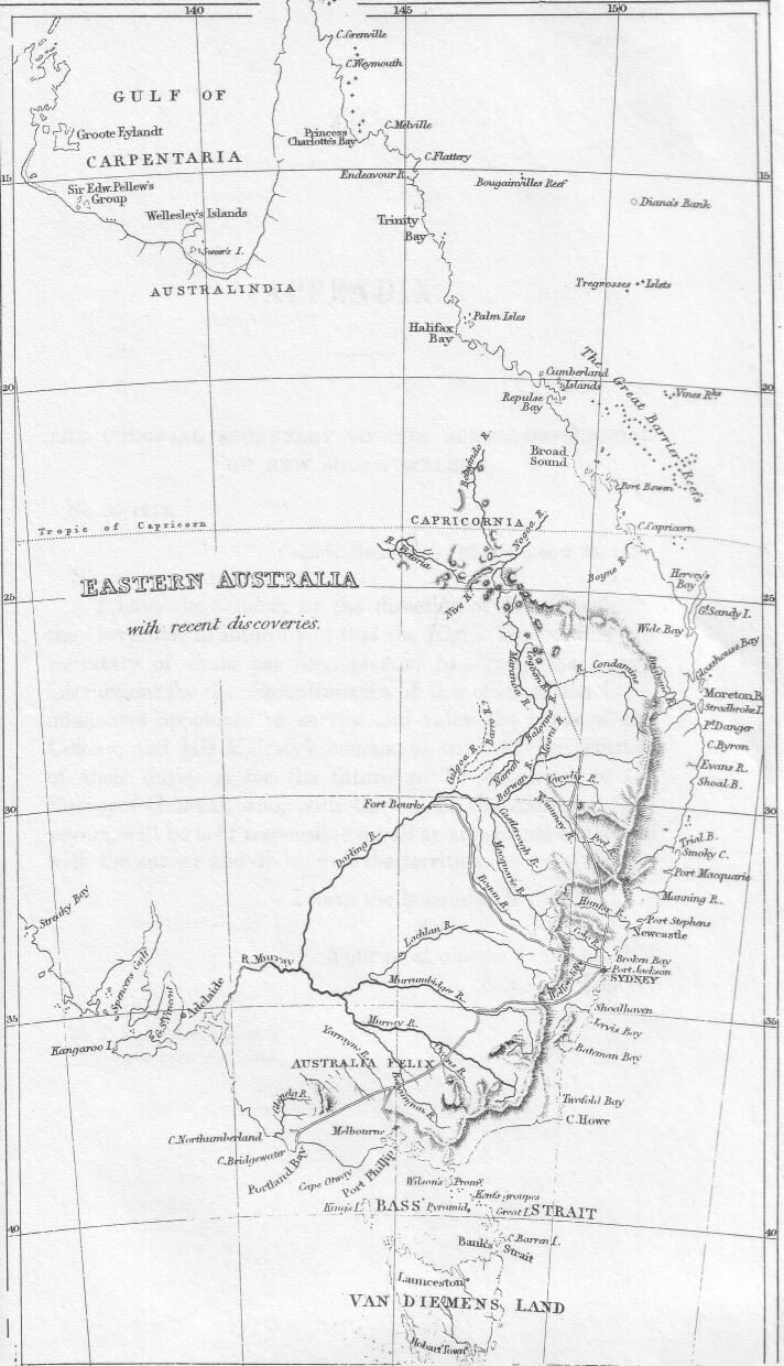 Journal Of An Expedition - Map of us drawn by australian