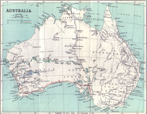Australia Map With Latitude And Longitude.Explorations In Australia