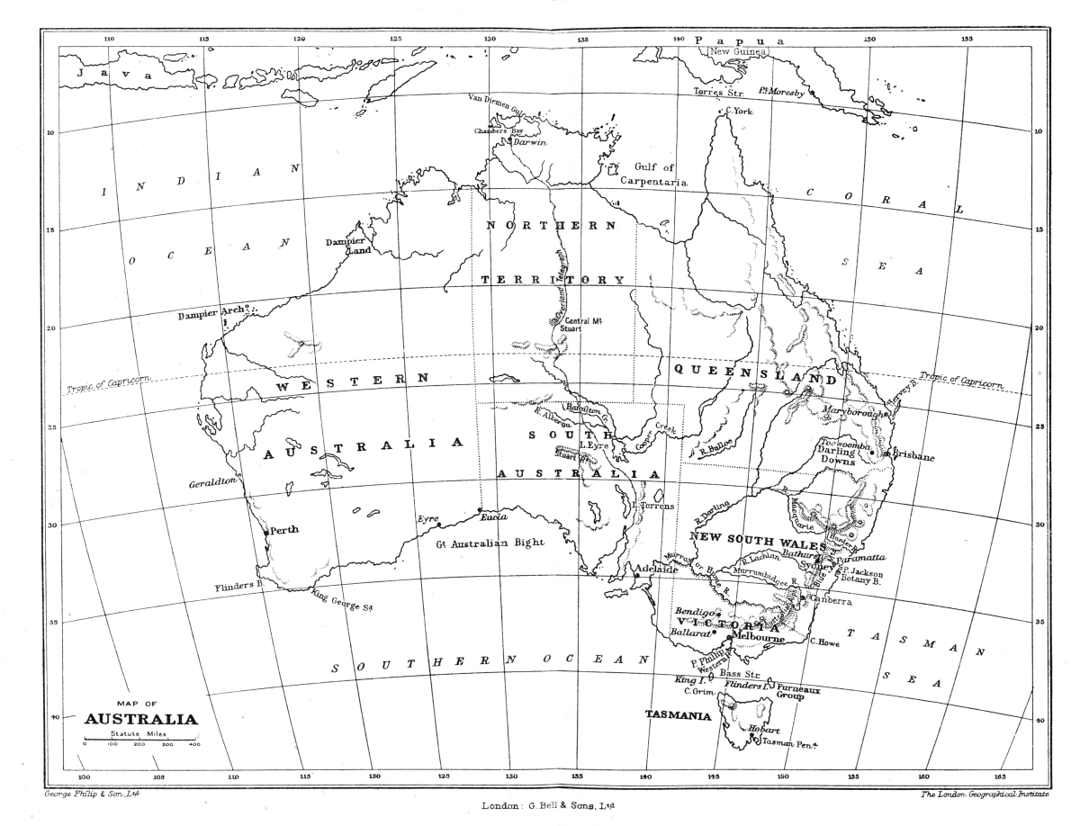 A Source Book Of Australian History - Map with latitude and longitude parallel