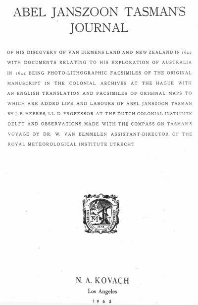 Abel Janszoon Tasman's Journal