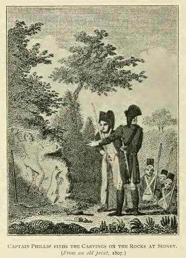 Captain Phillip finds the Carvings on the Rocks at Sydney. (From an old print, 1807.)