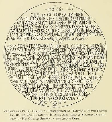 Vlamingh's Plate Giving an Inscription of Hartog's Plate Found by Him on Dirk Hartog Island, and also a Second Inscription of His Own