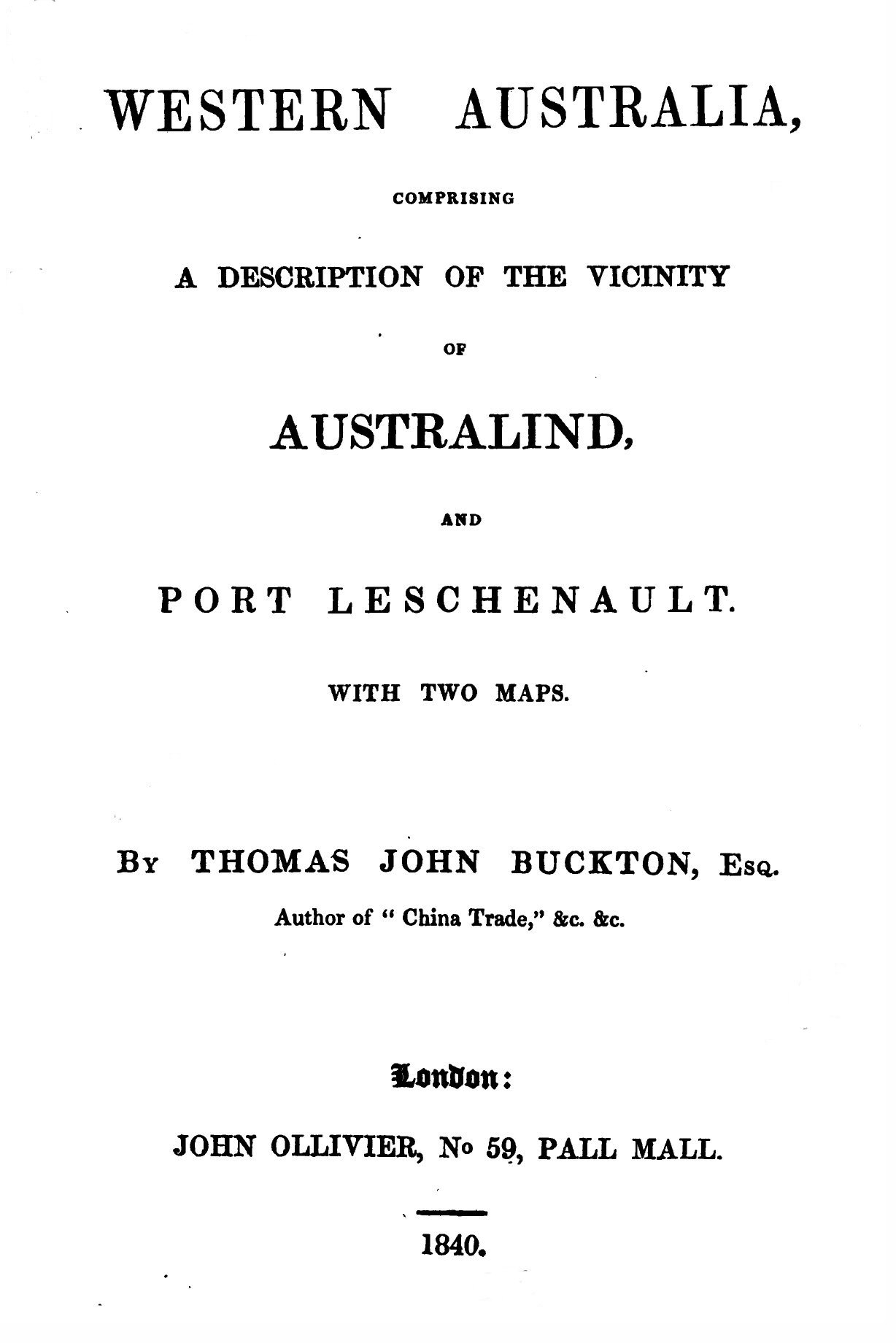 Western Australia, Comprising a Description of the Vicinity of