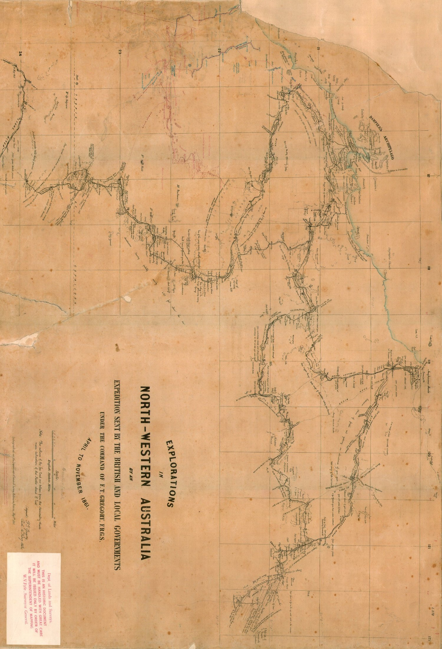 Map Of Western Australia 26th Parallel.Journals Of Australian Explorations
