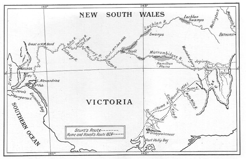5579dda8 Routes of Sturt (1829 and 1830); and Hume and Hovell (1824).