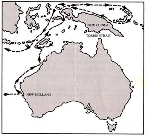 William Dampier's route